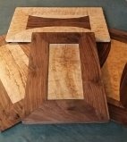 Misc. T and H Walnut and Quilted Maple Cheeseboards.  Suggested retail $60.00