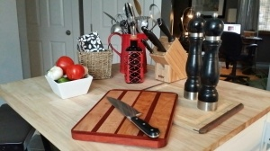 Tiger Maple and Bloodwood Cutting Board.  Suggested retail $90.00